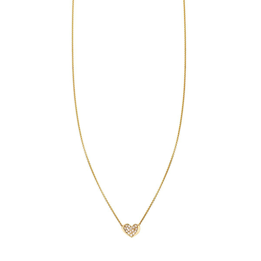 Image of a Diamond & Gold Curved Heart Necklace
