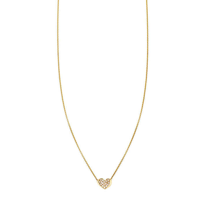 Image of Diamond & Gold Curved Heart Necklace