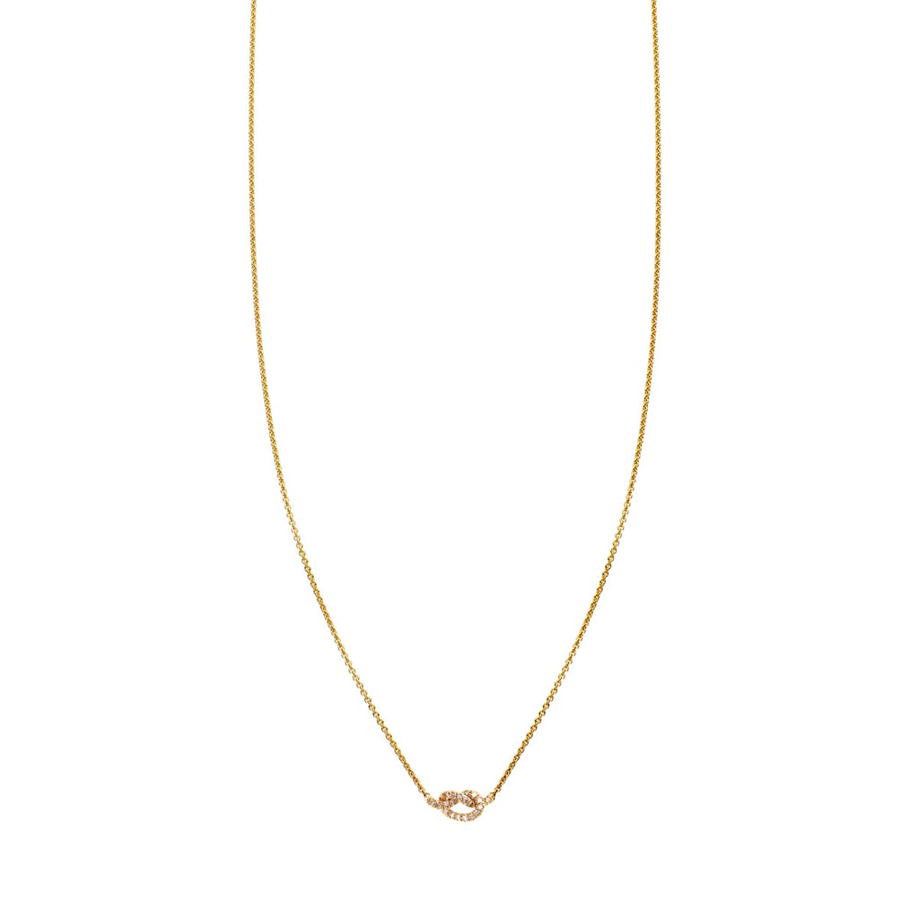Image of a Diamond & Gold Love Knot Necklace