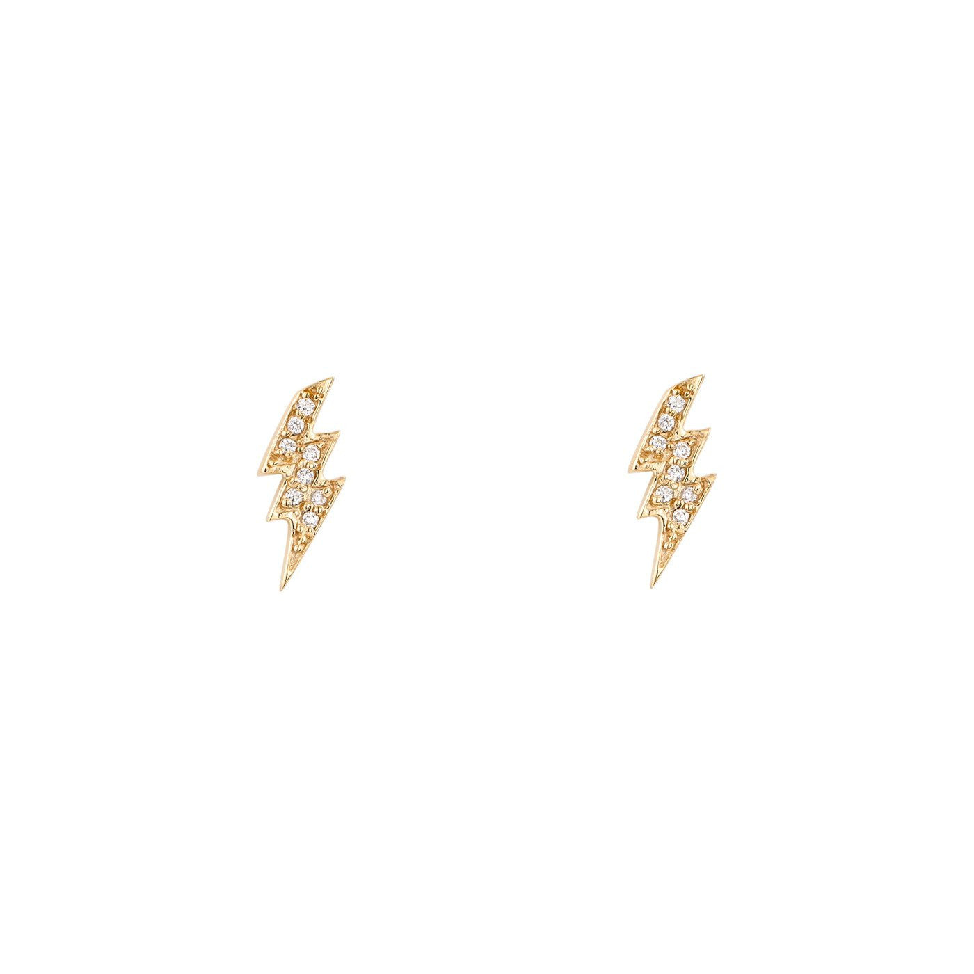gold lightning stud earrings dogeared dipped small bolt