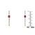 Diamond & Round Ruby Drop Bar Earrings