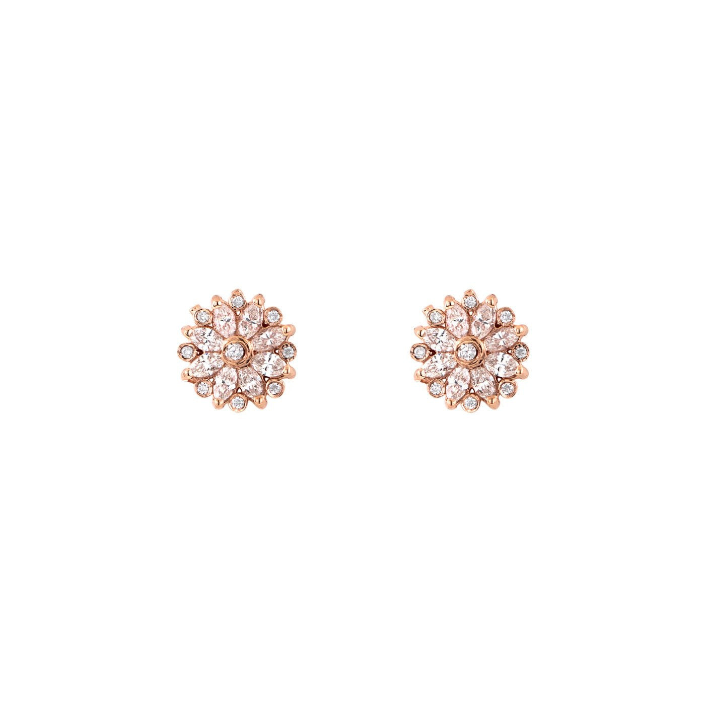 Diamond Snowflake Flower Earrings