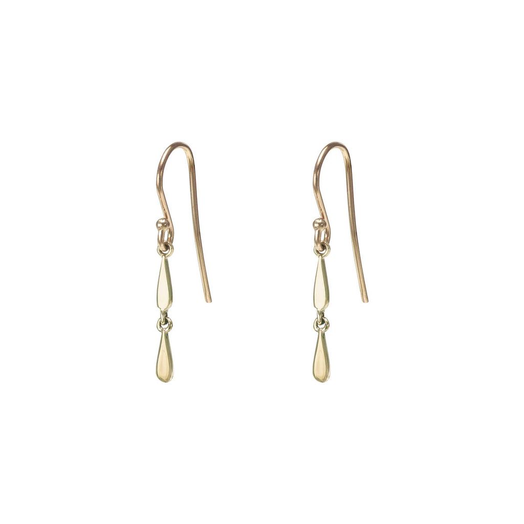 Double Drip Drop Gold Earring