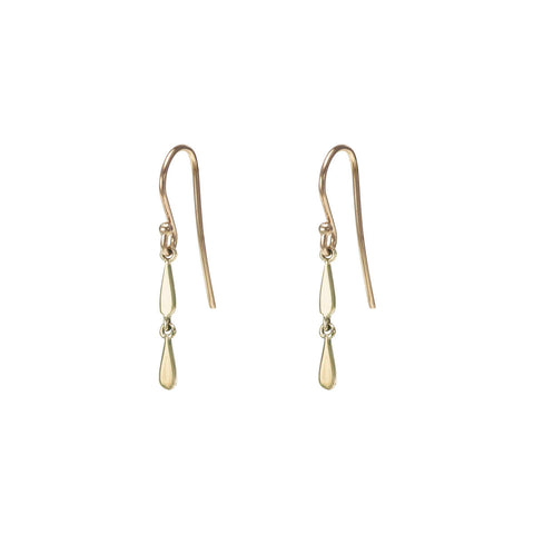 Image of Double Drip Drop Gold Earrings