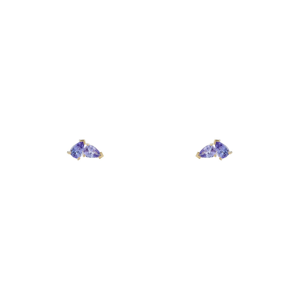 Image of purple gem earrings, Double Pear Iolite Stud Earrings