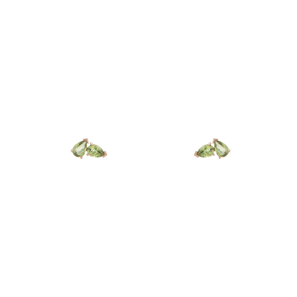 Image of green gem earrings, Double Pear Peridot Stud Earrings
