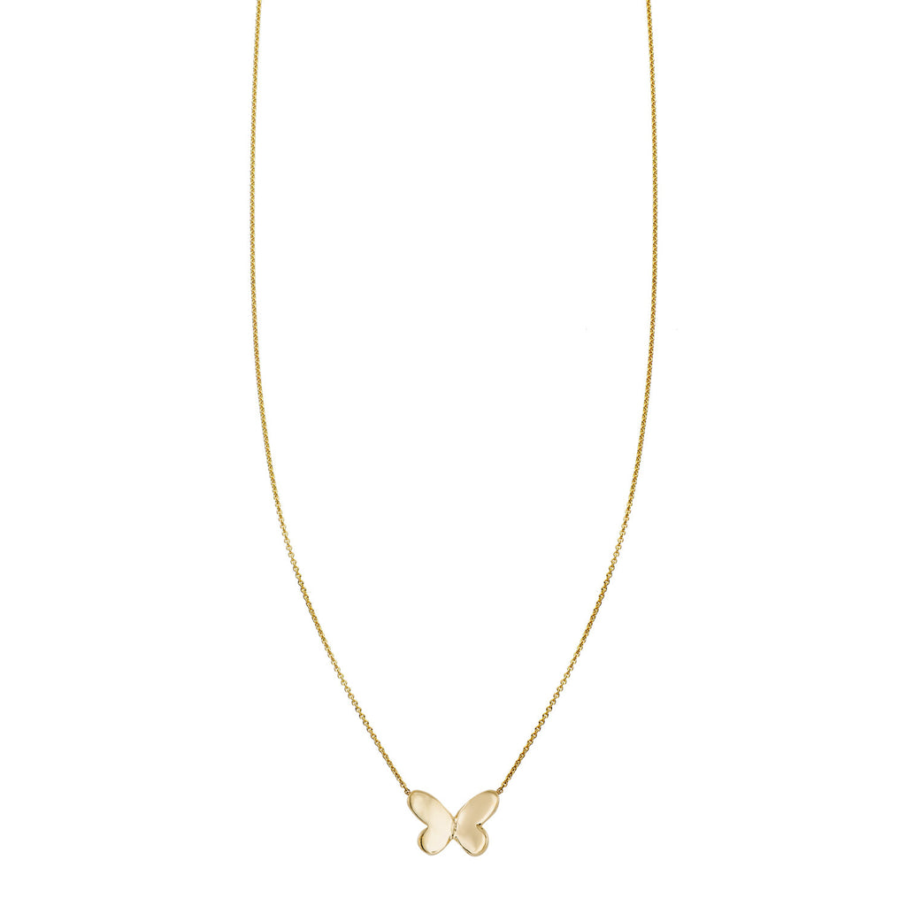 Gold folded butterfly charm women's necklace