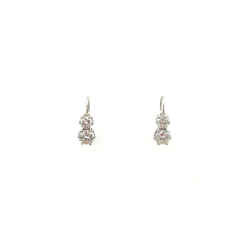 Dropped double diamond silver earrings