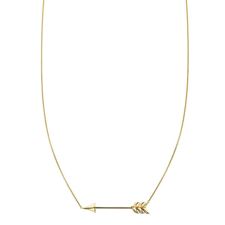 Gold arrow charm pendant necklace