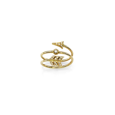 Gold and diamond wrap arrow ring