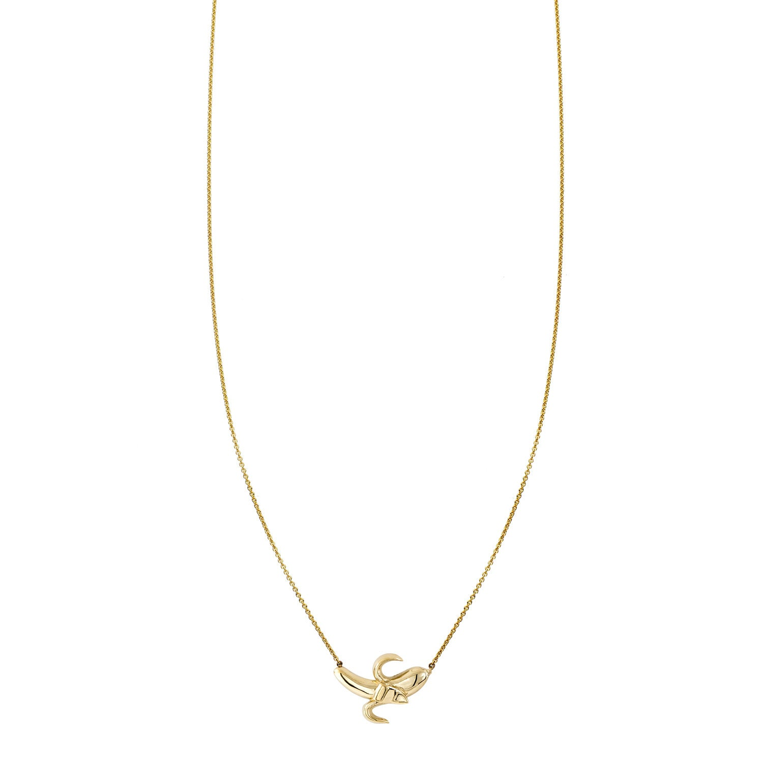 Gold peeled banana charm pendant necklace