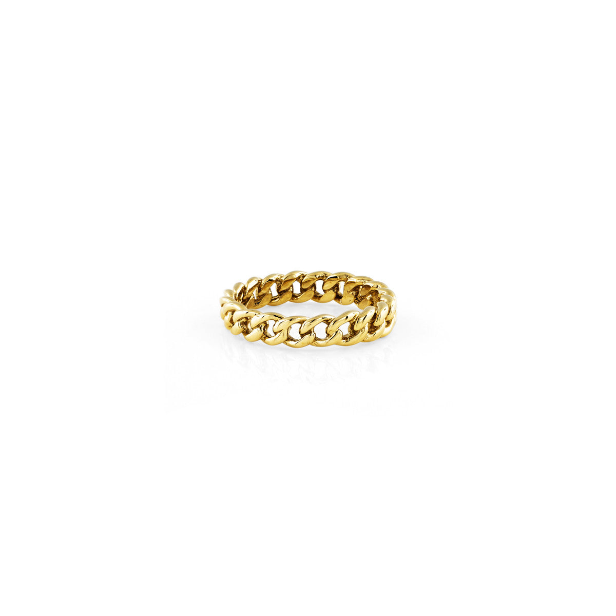Gold cuban curb link chain ring for women