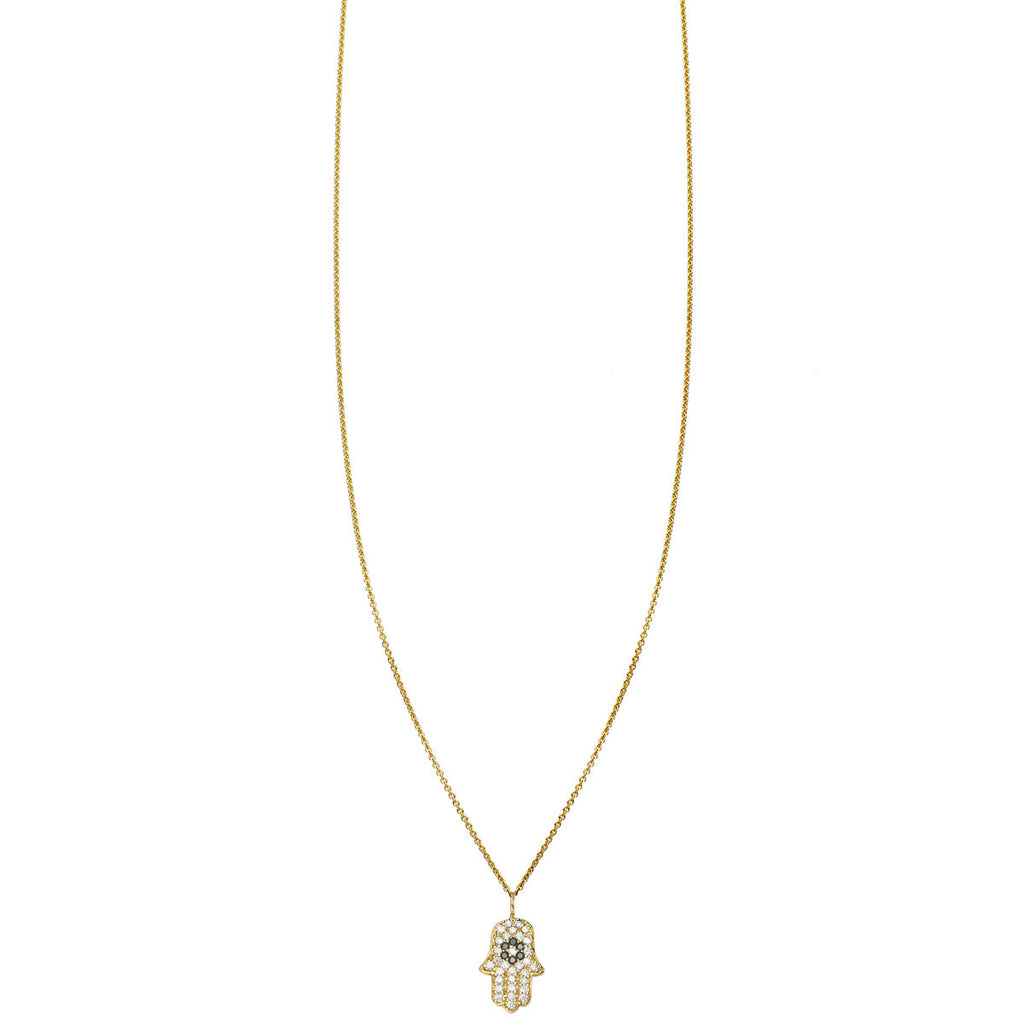 Small diamond hamsa hand charm pendant