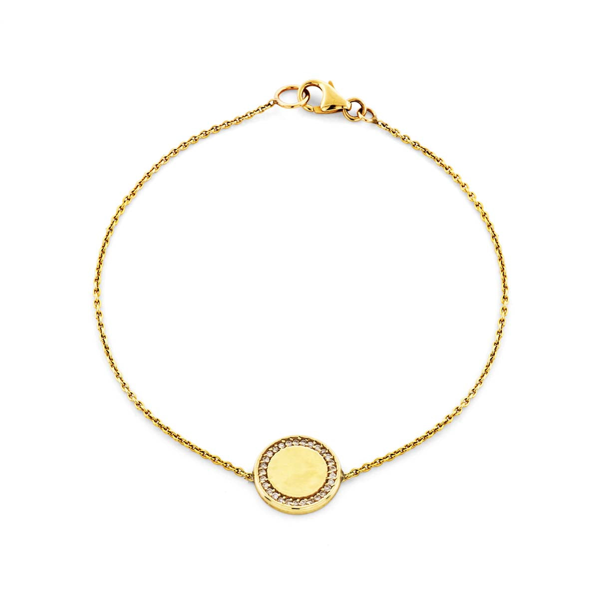 Image of a gold & diamond outline medallion bracelet.