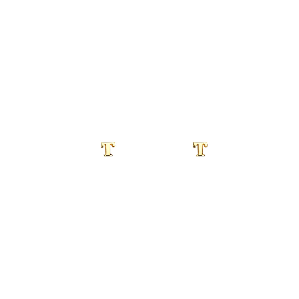 Image of gold initial earrings.