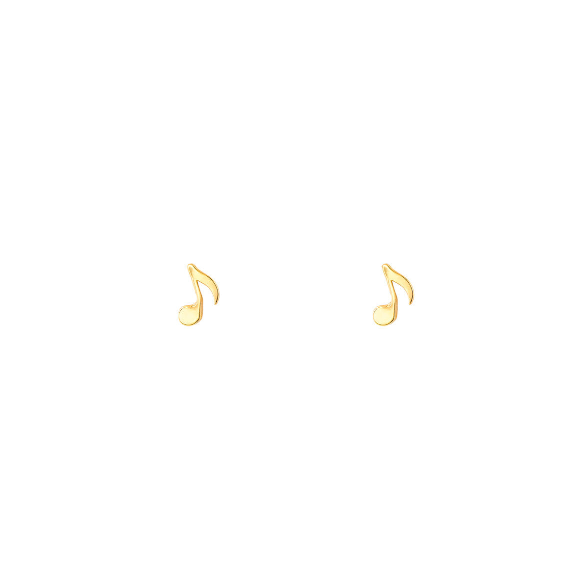 Gold Musical Note Stud Earrings