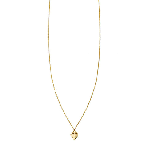 Gold three dimensional puffed heart charm necklace
