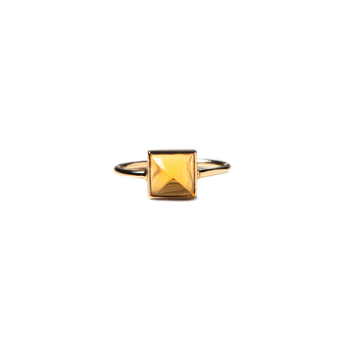 Citrine stud rock ring for women