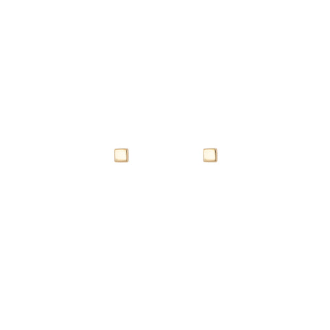 Gold Square Stud Earring