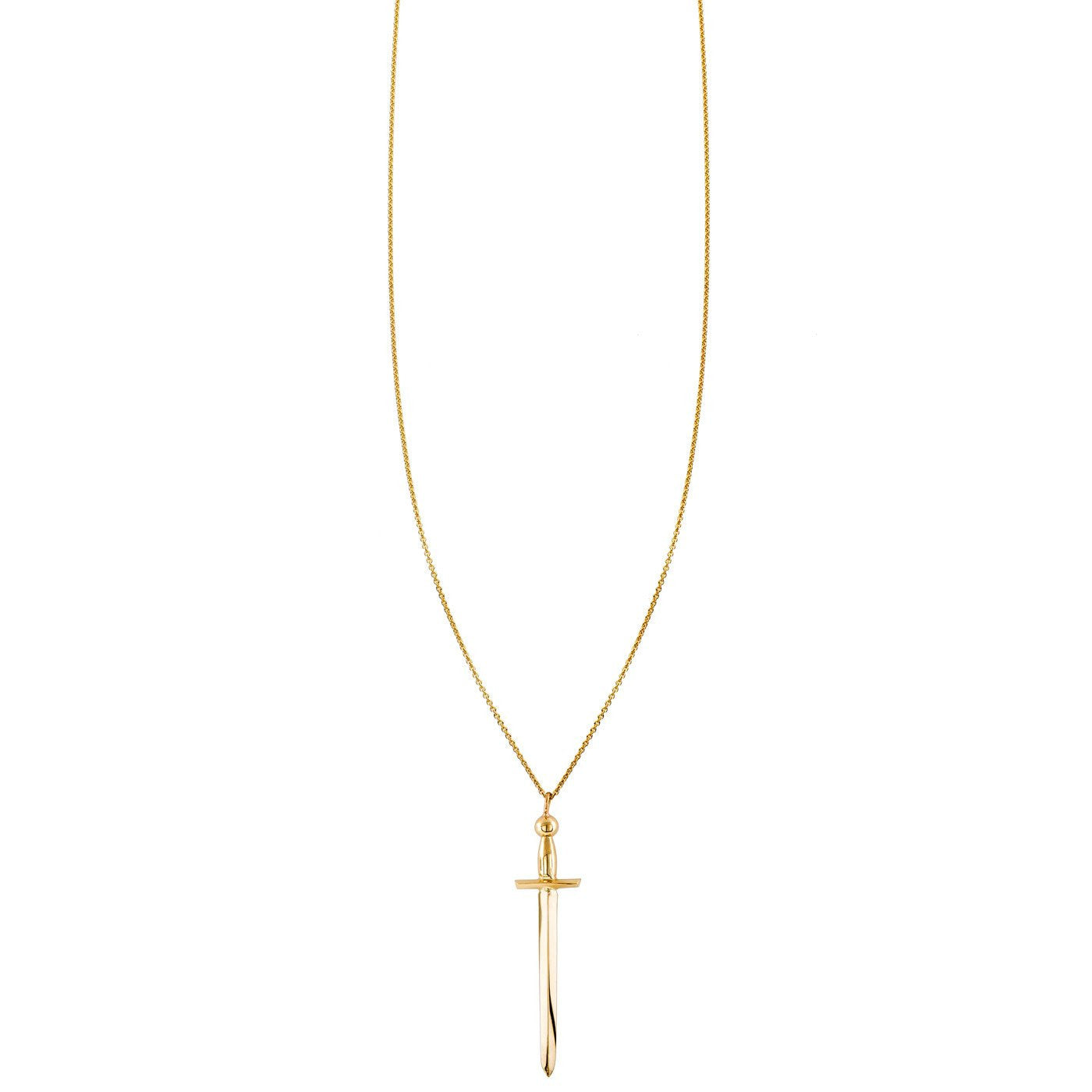 Polished 10k Rose Gold Crossing Daggers Charm Pendant Necklace