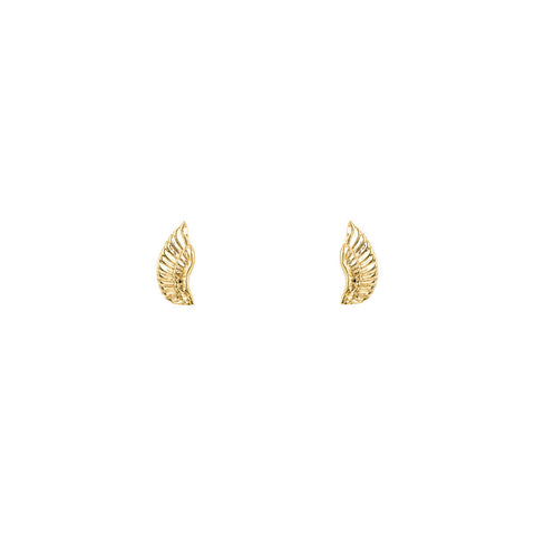 Gold Angel Wing Stud Earrings