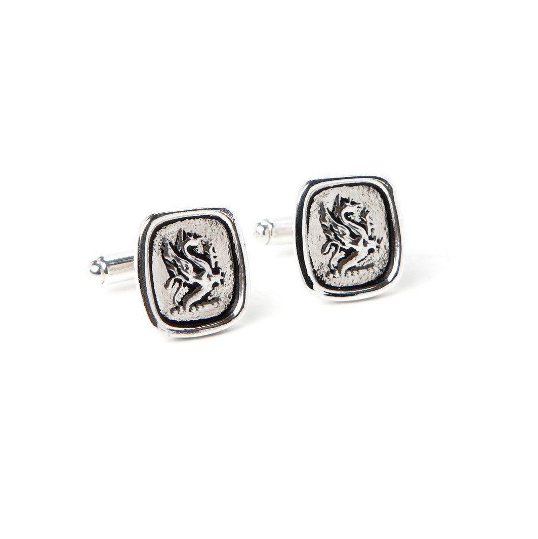 Squared wax seal dragon cufflinks for men