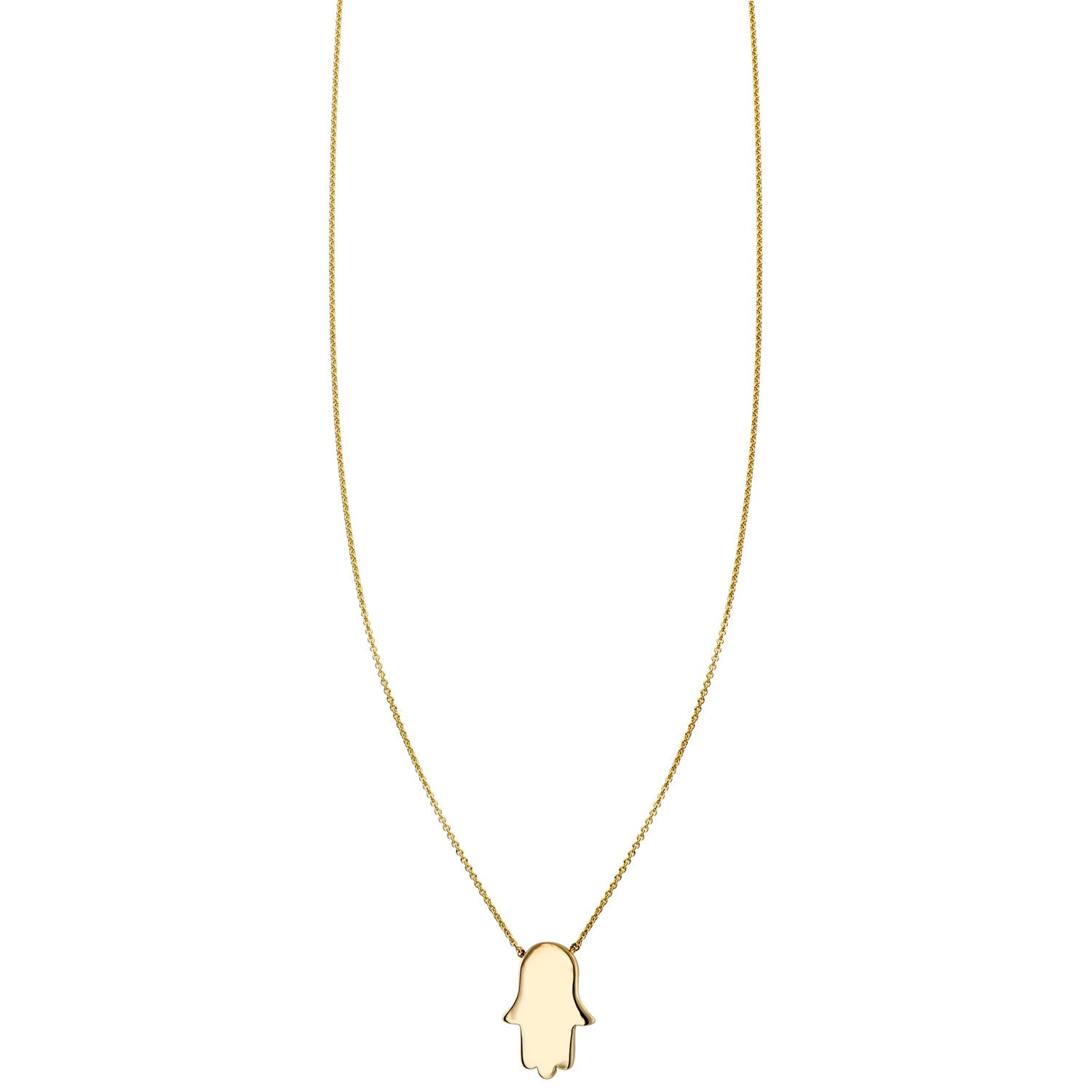 Gold hamsa hand charm pendant necklace