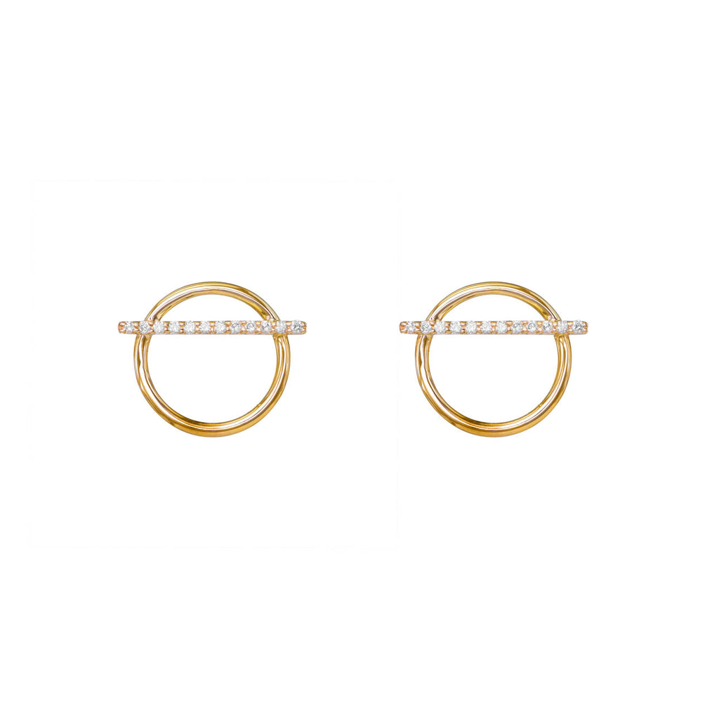 Image of Horizontal Diamond Pave Bar Hoops