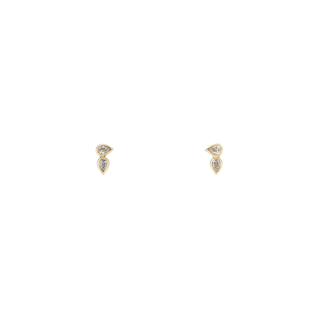 Horizontal Double Tear Drop Diamond Earrings
