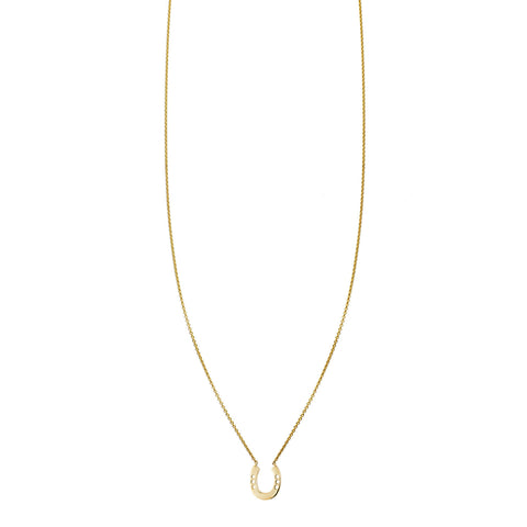 Gold horseshoe charm pendant necklace