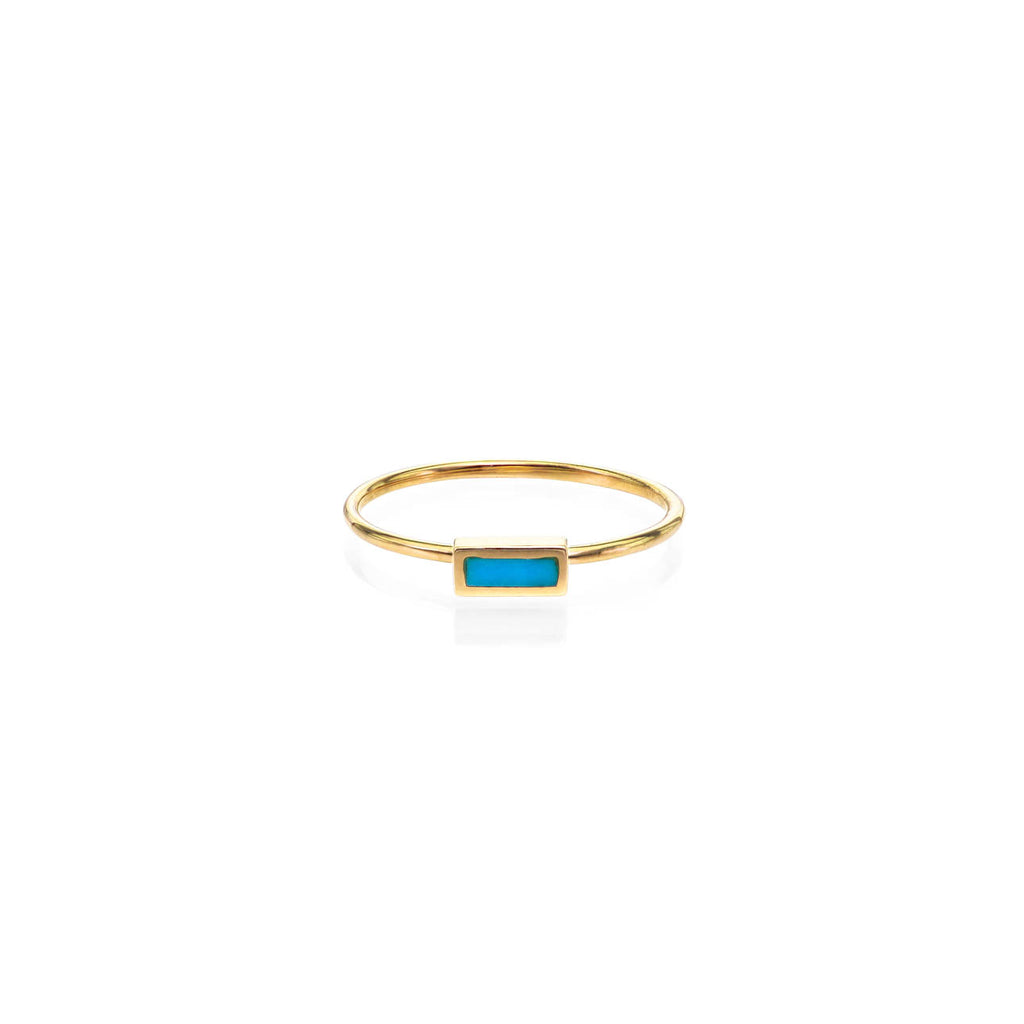 Image of Inlayed Turquoise Rectangle Band