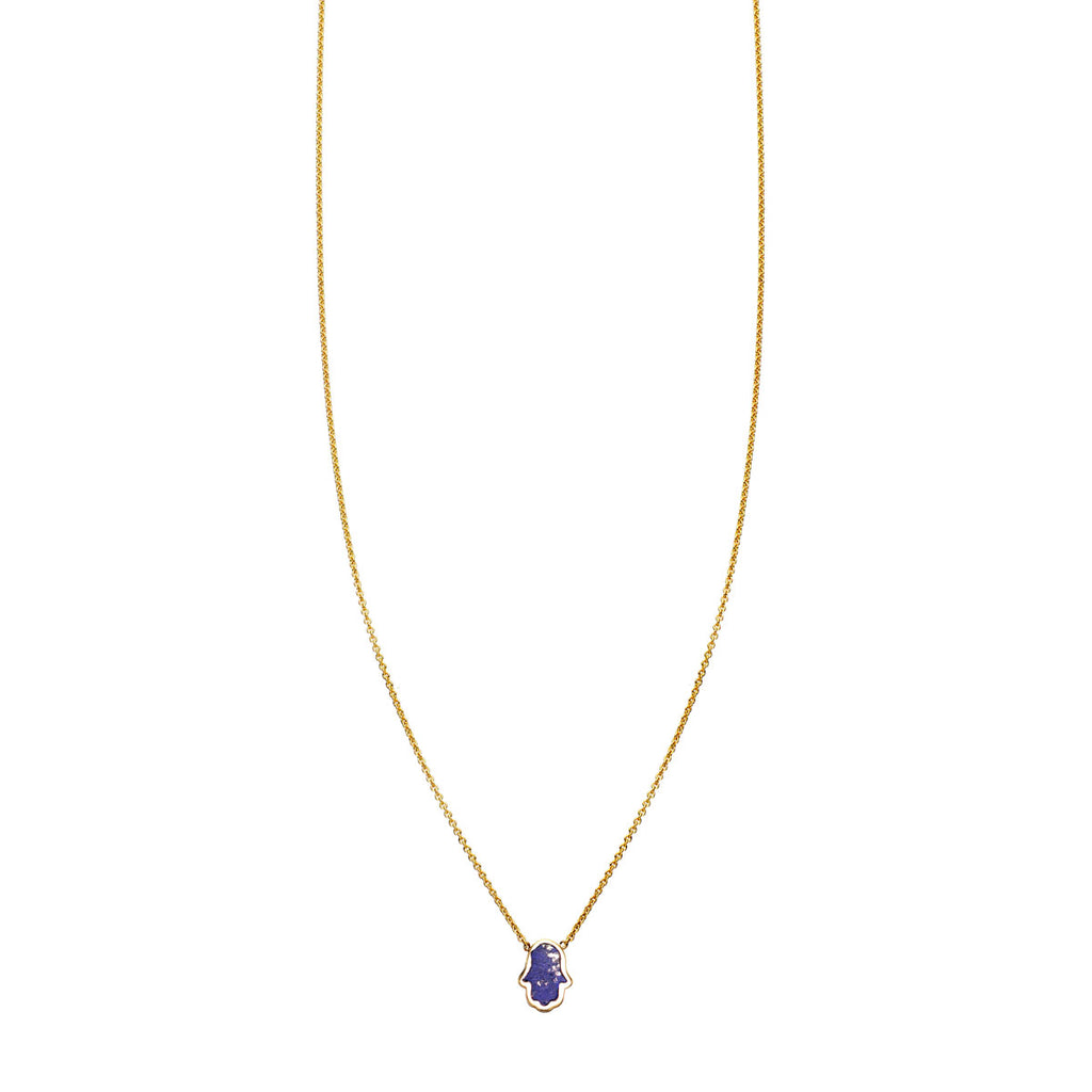 Image of Lapis Lazuli Inlaid Hamsa Hand Necklace