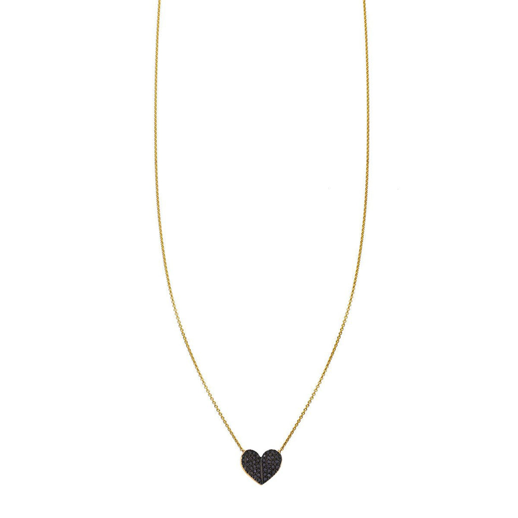 Image of a Large Black Diamond Folded Heart Necklace