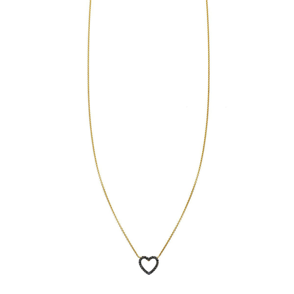 Image of a Large Black Diamond Open Heart Necklace