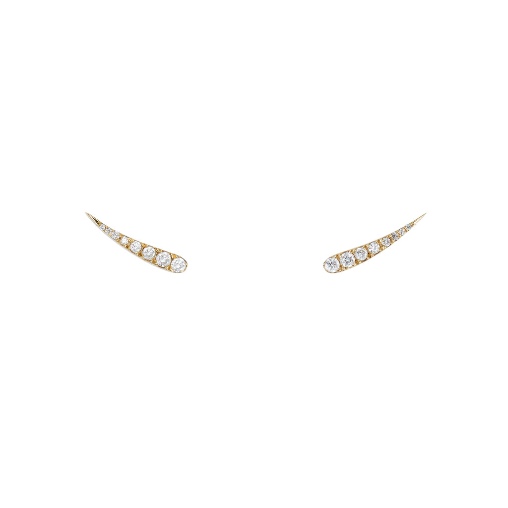 Large Diamond Eyelash Stud Earrings