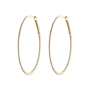 Large Gold & Pavé Diamond Hoops