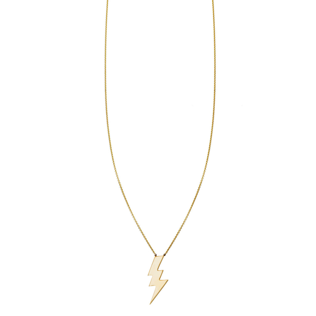 Image of a Gold Large Lightning Bolt Charm Necklace