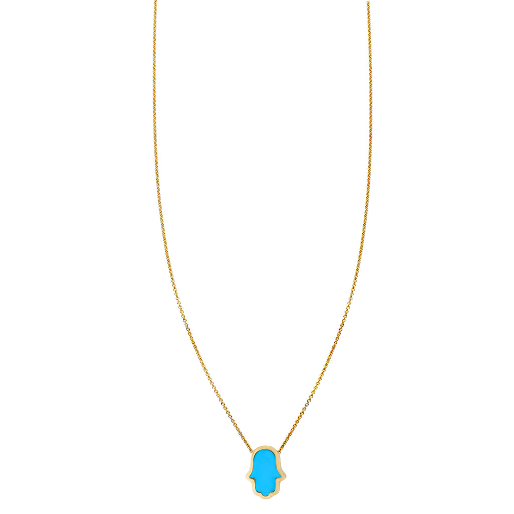 Large Turquoise Inlaid Hamsa Hand Necklace