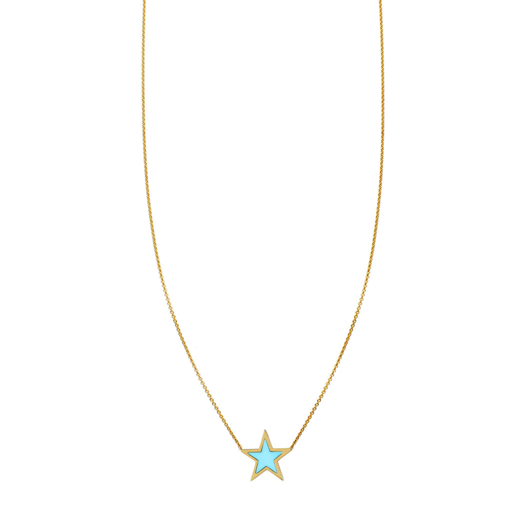 Large Turquoise Inlaid Star Necklace