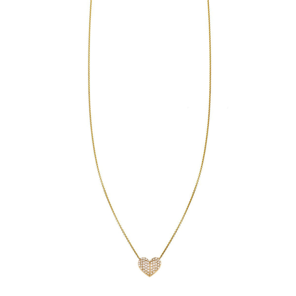 Image of a Large White Diamond Folded Heart Necklace