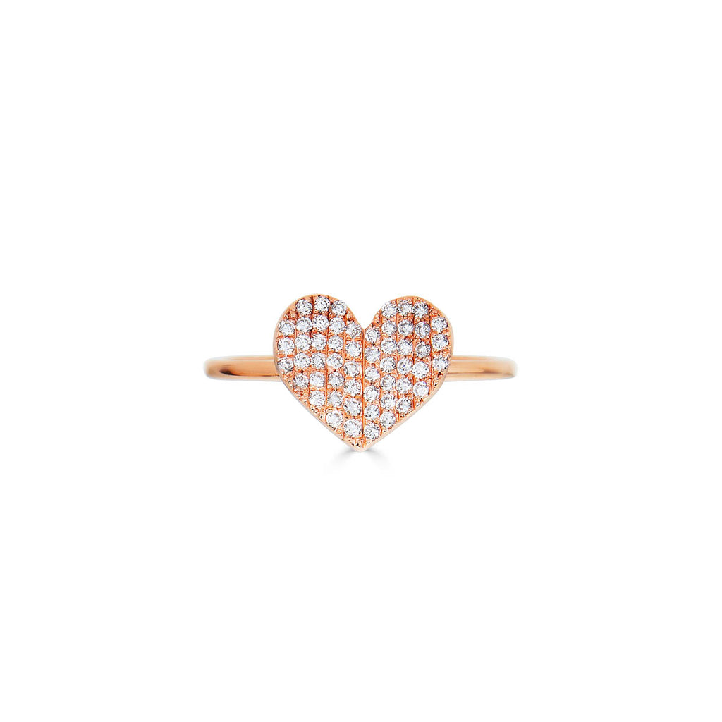 Large White Diamond Folded Heart Ring