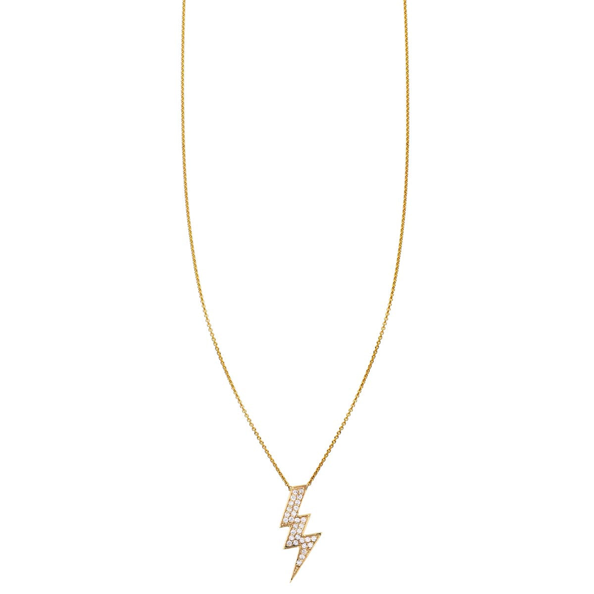 Image of a Large White Diamond Lightning Bolt Necklace