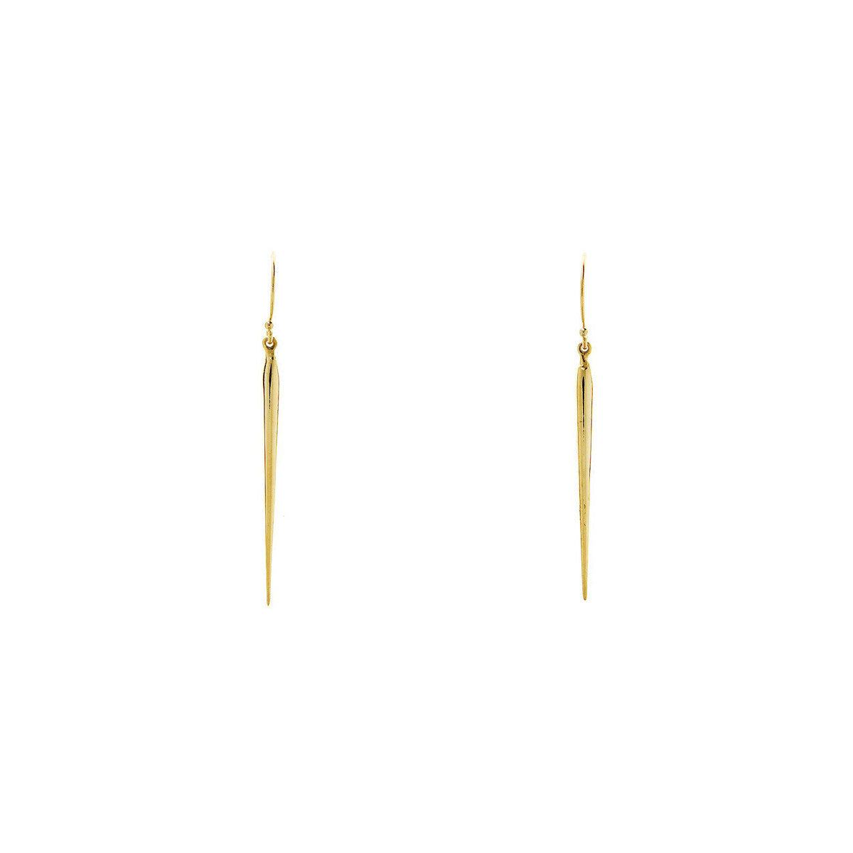 Long gold spike drop needle earrings