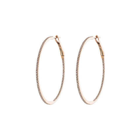 Medium Gold & Pavé Diamond Hoops