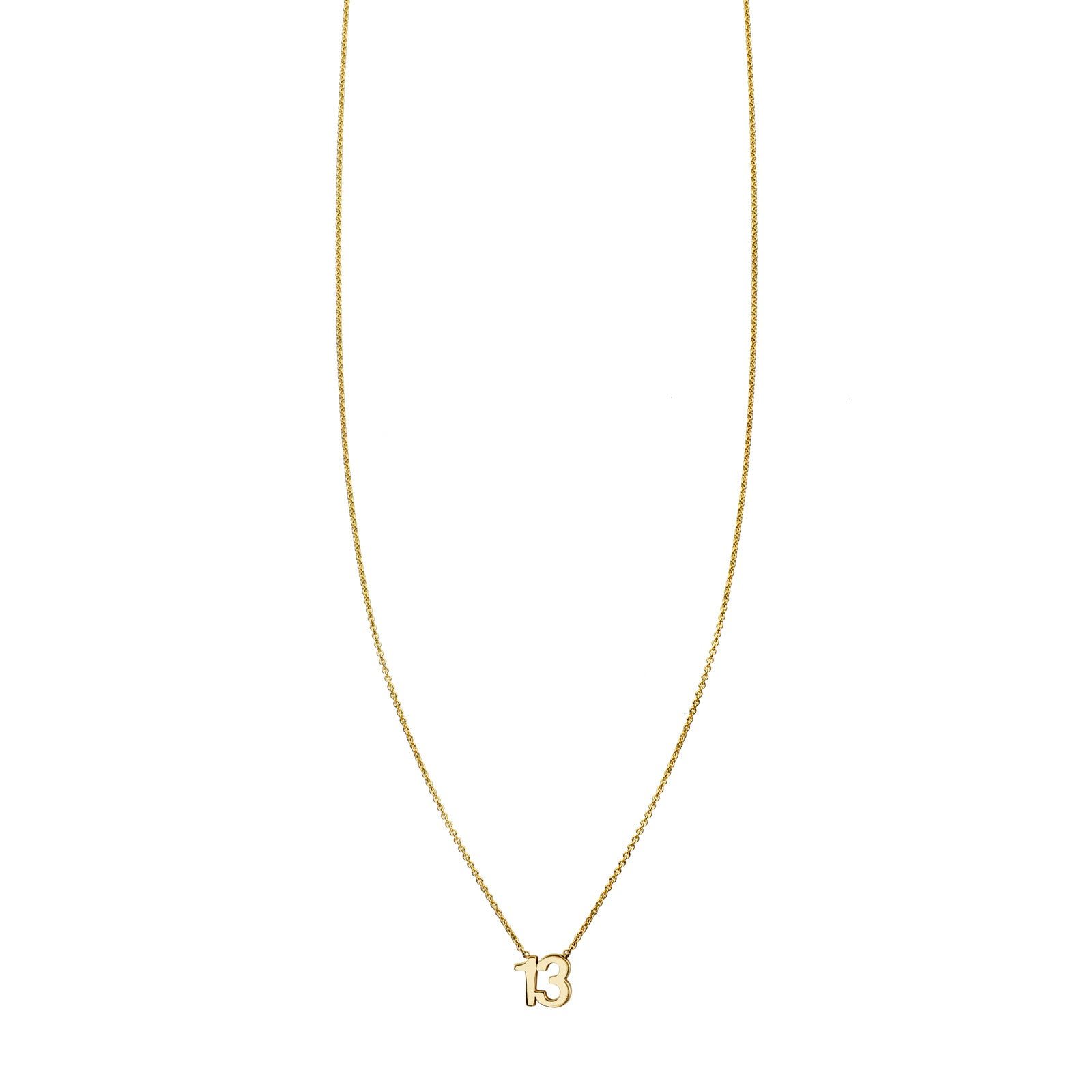 Gold Number 13 Charm Necklace