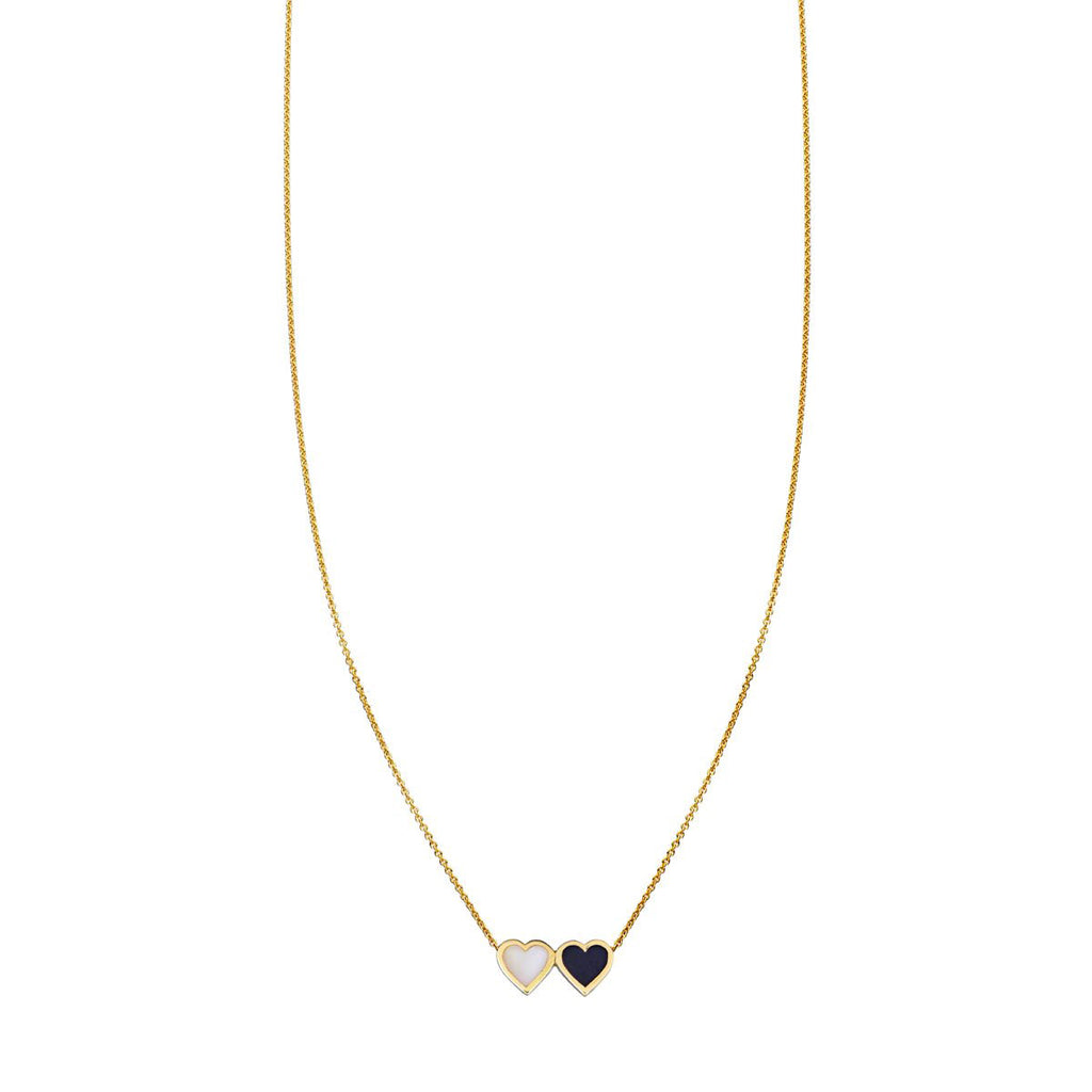 Onyx & White Jade Double Heart Necklace
