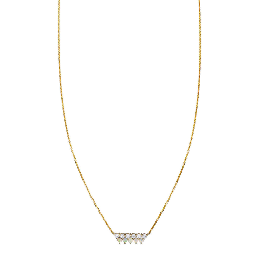 Opal & Diamond Double Bar Necklace