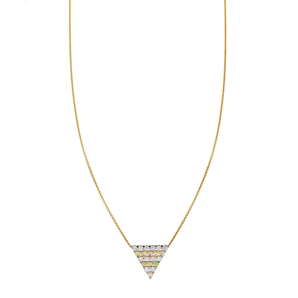 Image of Opal & Diamond Triangle Pendant Necklace