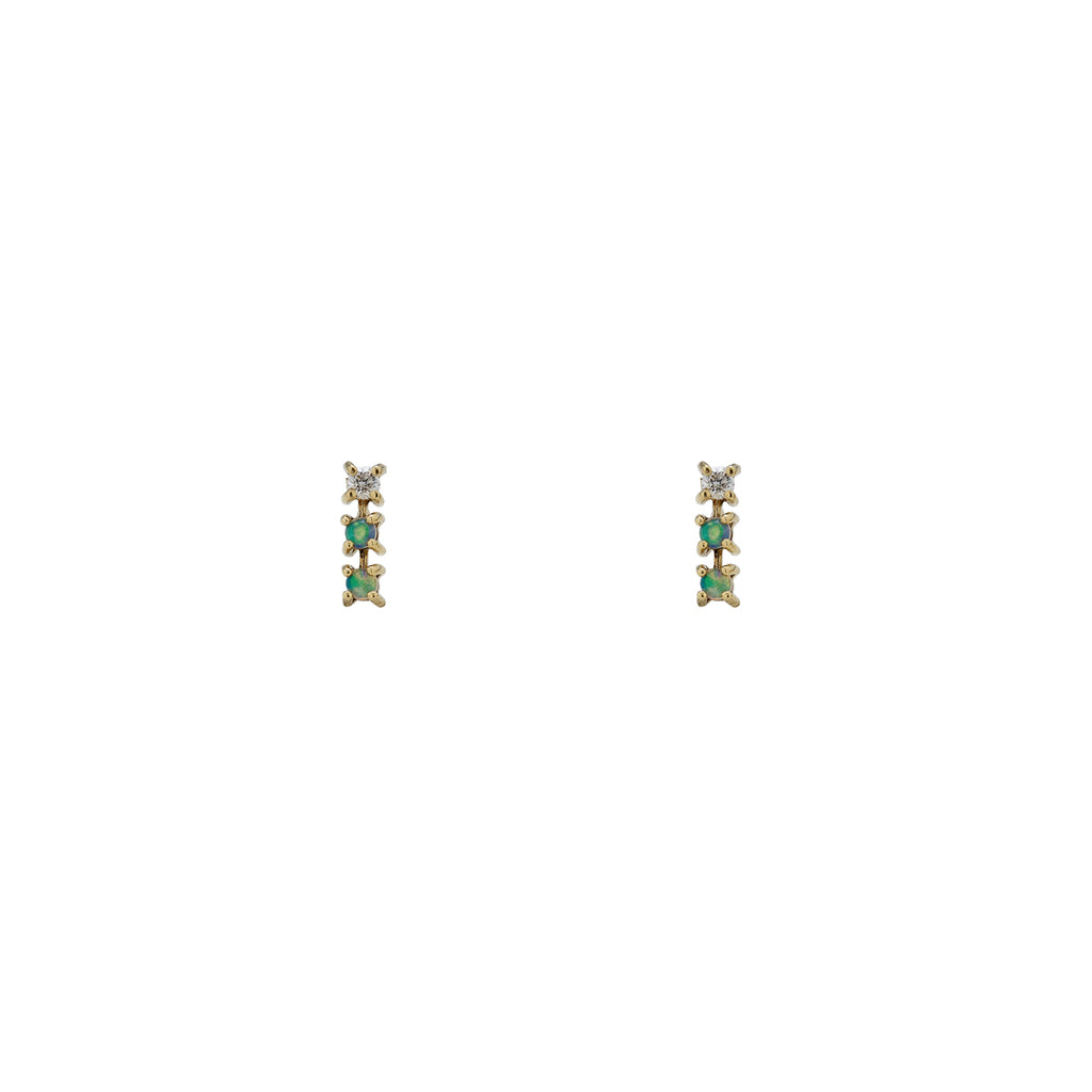 Opal & Diamond Triple Line Earrings
