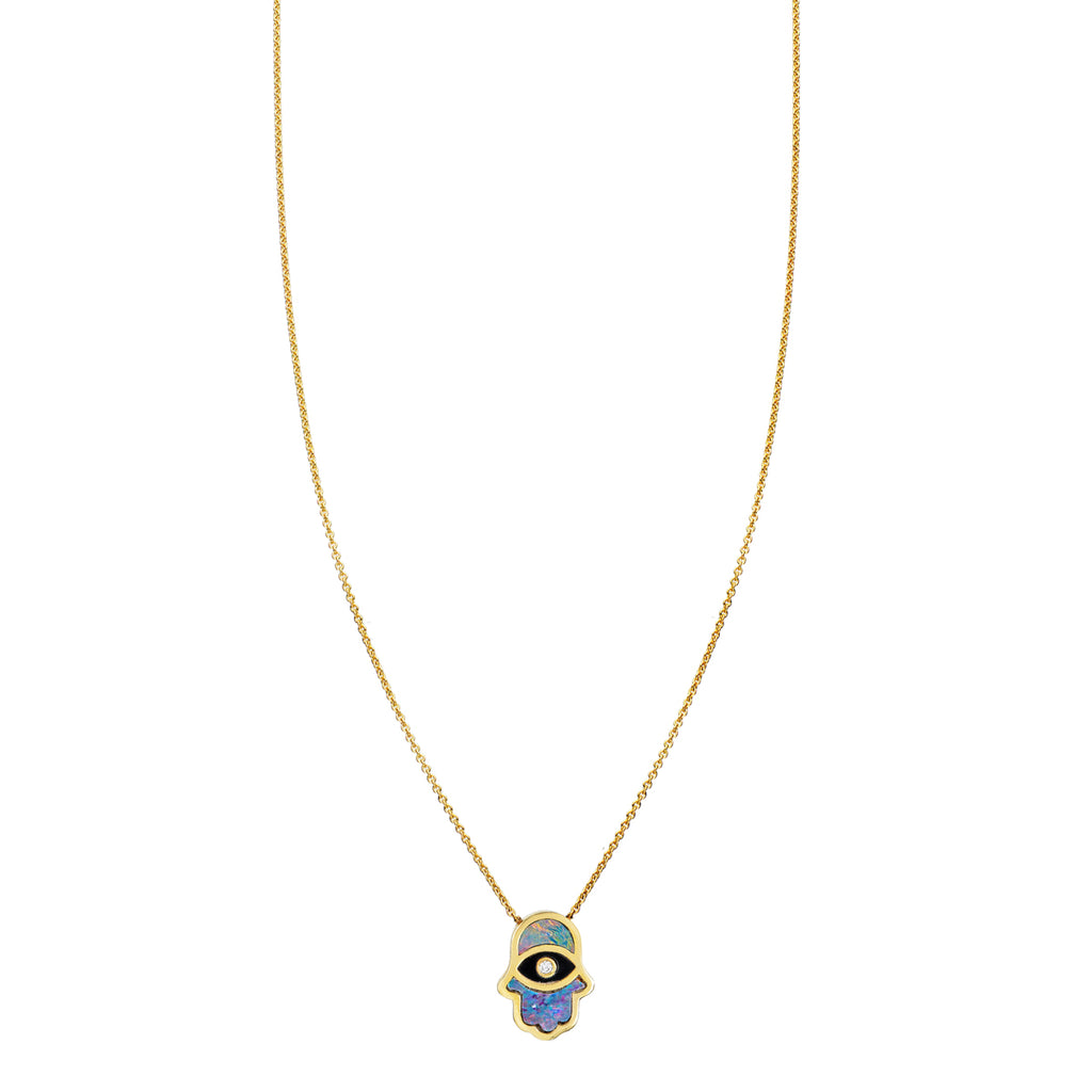 Opal Hamsa & Onyx Evil Eye Necklace